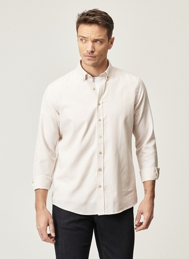 AC&Co / Altınyıldız Classics Tailored Slim Fit Çizgili Düğmeli Yaka Gömlek 4A2021100054 Bej